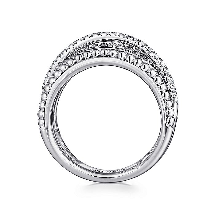925 Sterling Silver Layered Bujukan Beaded White Sapphire Ring