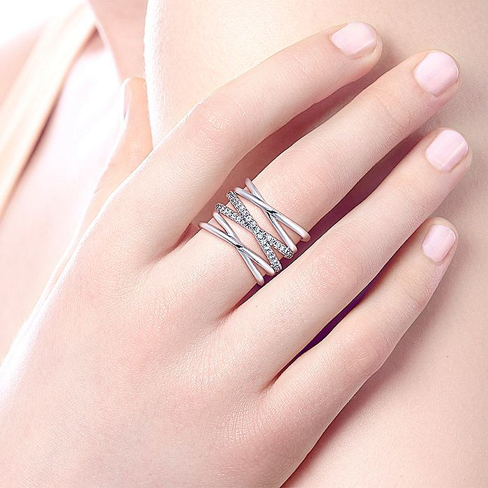 925 Sterling Silver Layered Multi Row White Sapphire Ring
