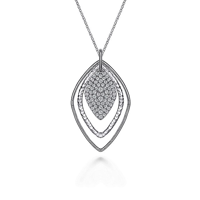 925 Sterling Silver Layered Rhombus Pendant Necklace with White Sapphire Pavé Drop