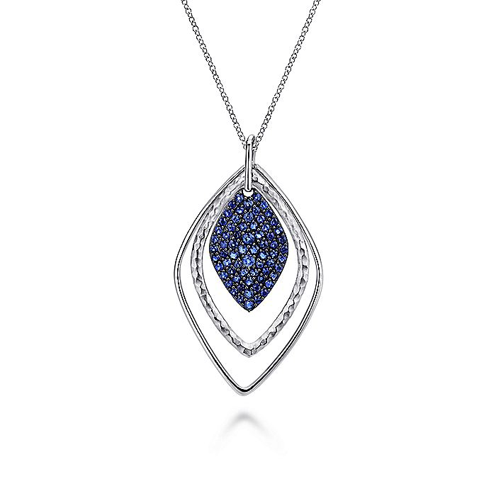 925 Sterling Silver Layered Sapphire Cluster Fashion Necklace