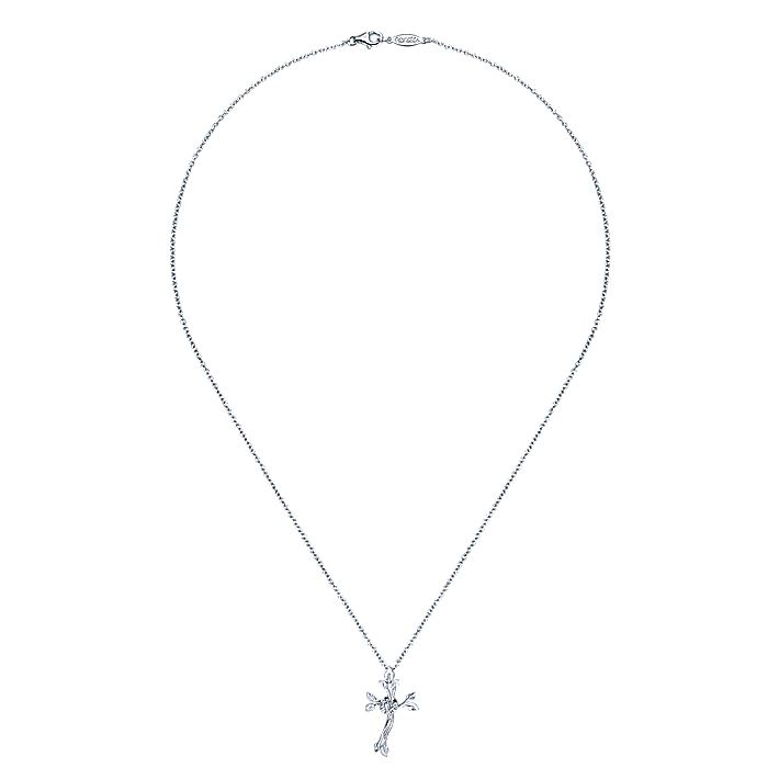 925 Sterling Silver Leaf & Diamond Wreath Cross Necklace