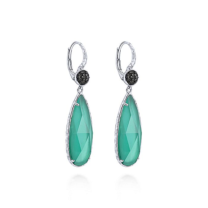 925 Sterling Silver Long Rock Crystal/Green Onyx Drop Earrings with Black Spinel Tops