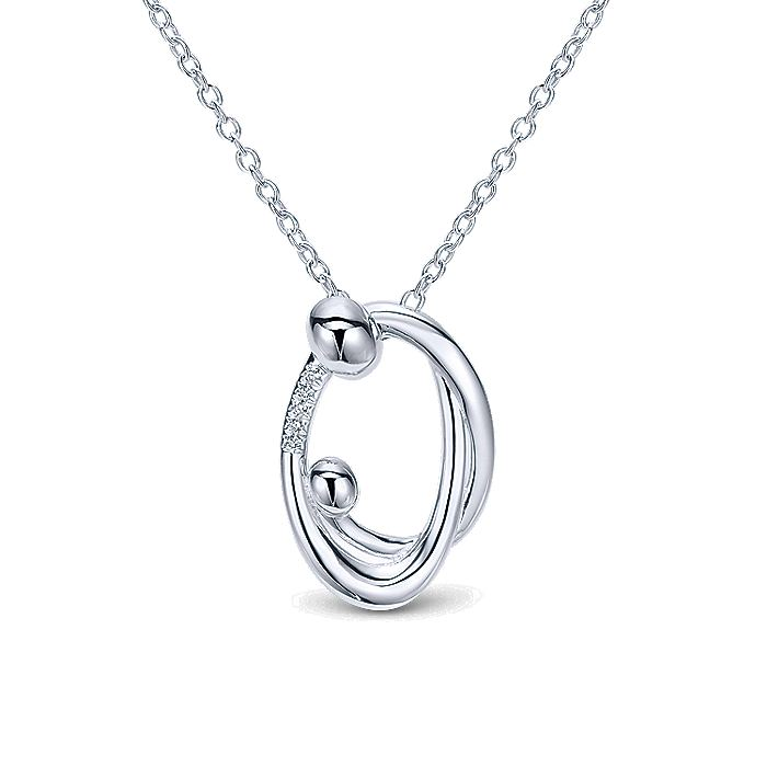 925 Sterling Silver Mother and Child Pendant Necklace with Diamonds