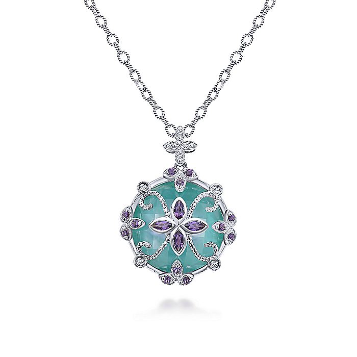 925 Sterling Silver Multi Color Stone Round Floral Pendant Necklace