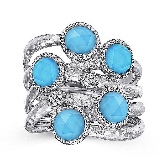 925 Sterling Silver Multi Color Stones Fashion Ring
