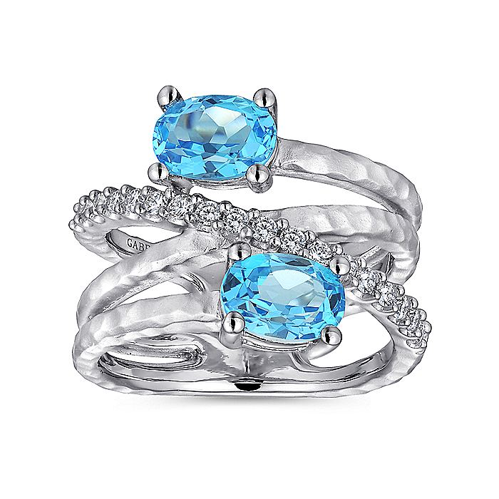 925 Sterling Silver Multi Row Blue Topaz and White Sapphire Ring