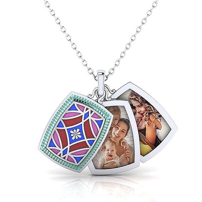 925 Sterling Silver Multicolor Enamel Pendant Necklace