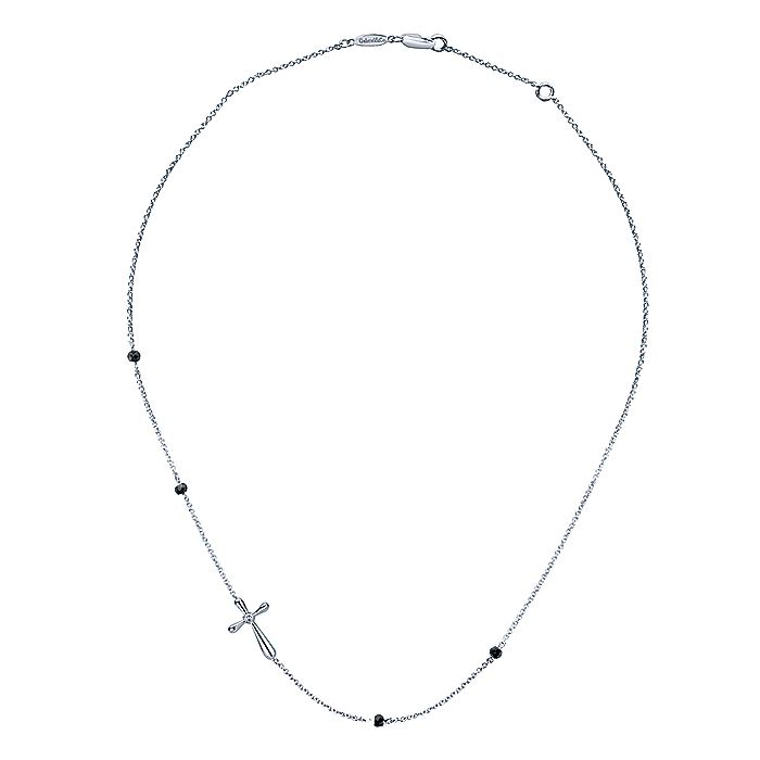 925 Sterling Silver Necklace with Side Cross and Black Spinel Stations