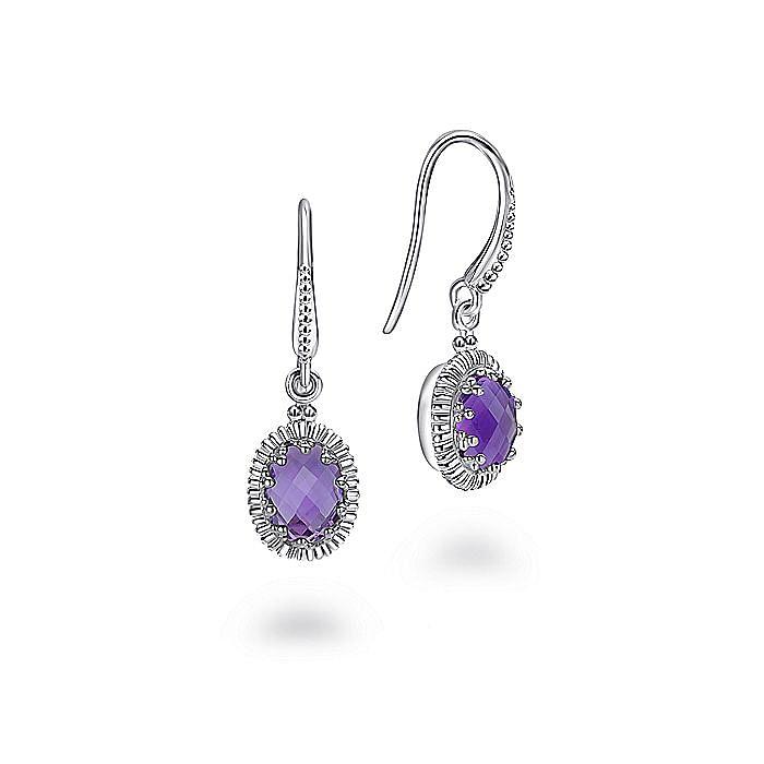925 Sterling Silver Oval Amethyst Drop Earrings