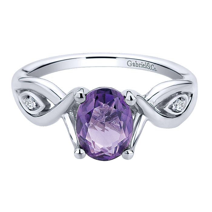 925 Sterling Silver Oval Cut Amethyst and Diamond Twisted Ring