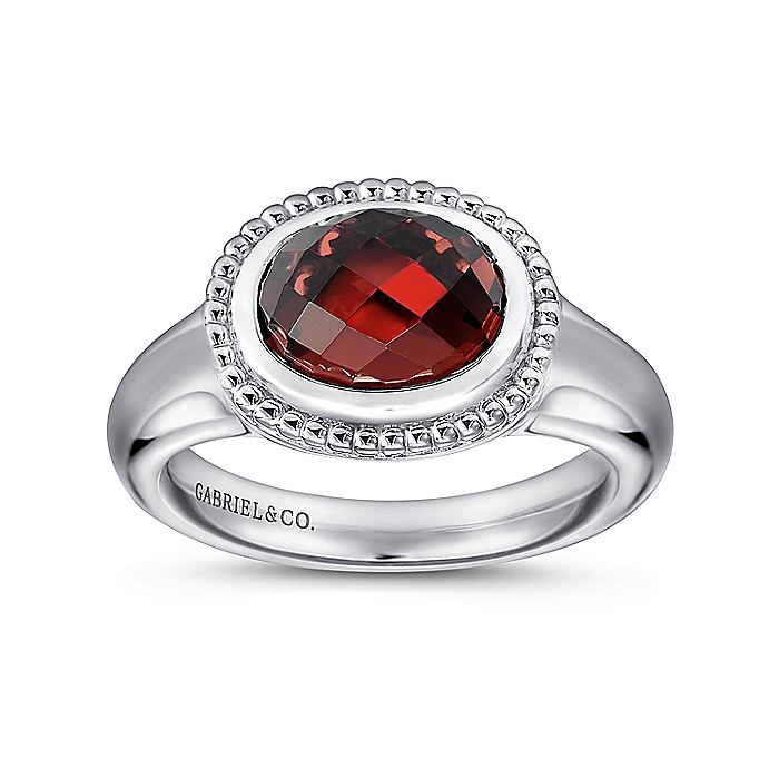 925 Sterling Silver Oval Garnet Ladies Ring