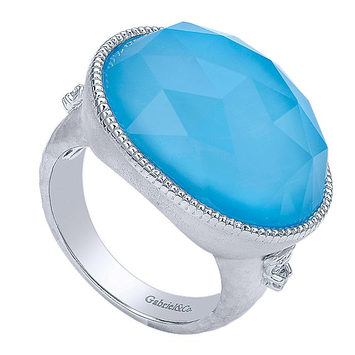 925 Sterling Silver Oval Rock Crystal/Turquoise and Diamond Ring