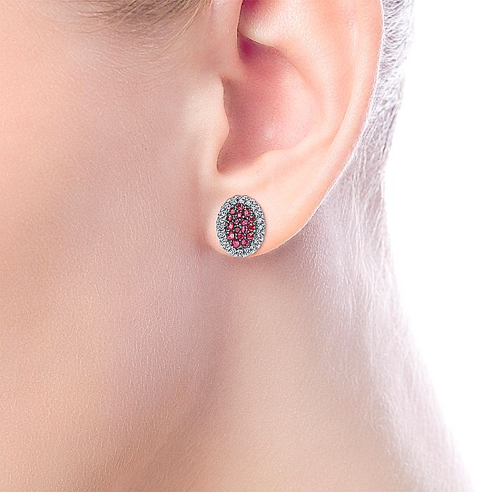 925 Sterling Silver Oval Ruby Cluster with White Sapphire Halo Stud Earrings