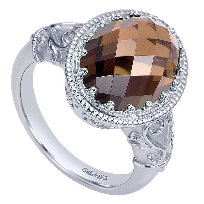 925 Sterling Silver Oval Smoky Quartz Ring