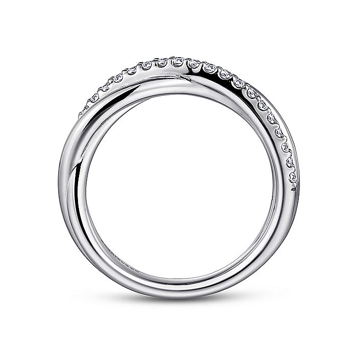 925 Sterling Silver Pave White Sapphire Twisted Fashion Ring
