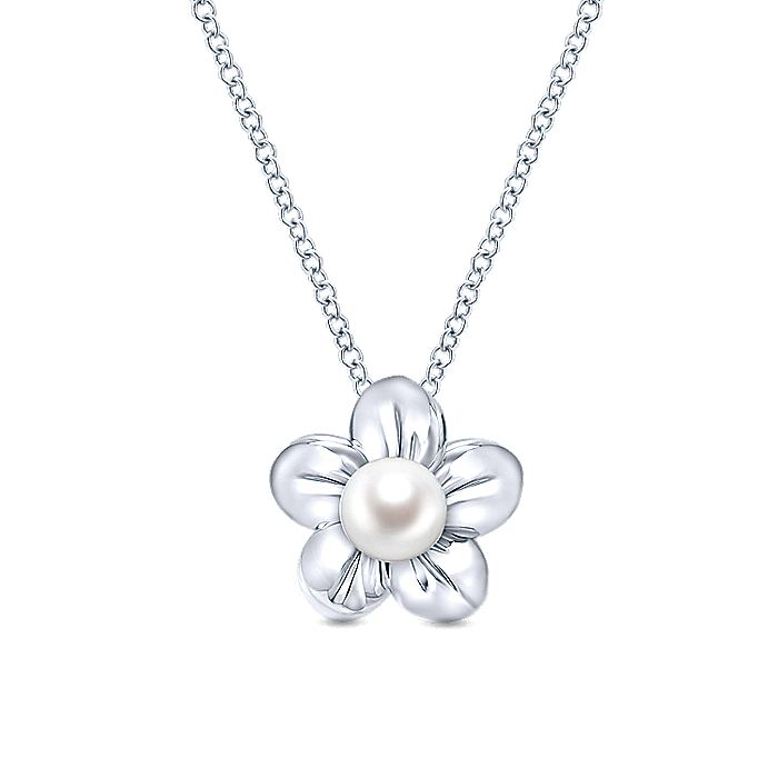 925 Sterling Silver Pearl Flower Pendant Necklace