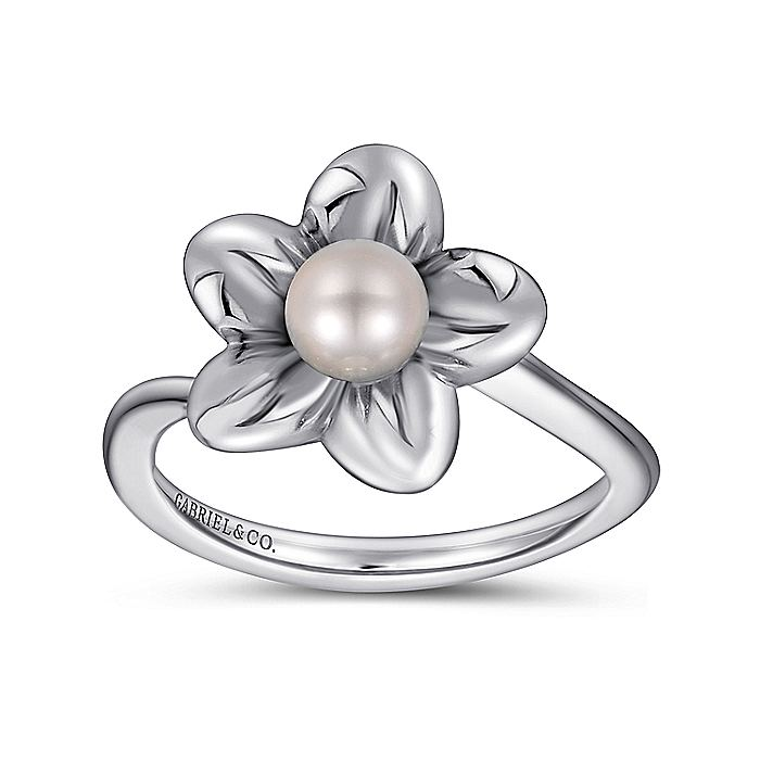 925 Sterling Silver Pearl Flower Ring