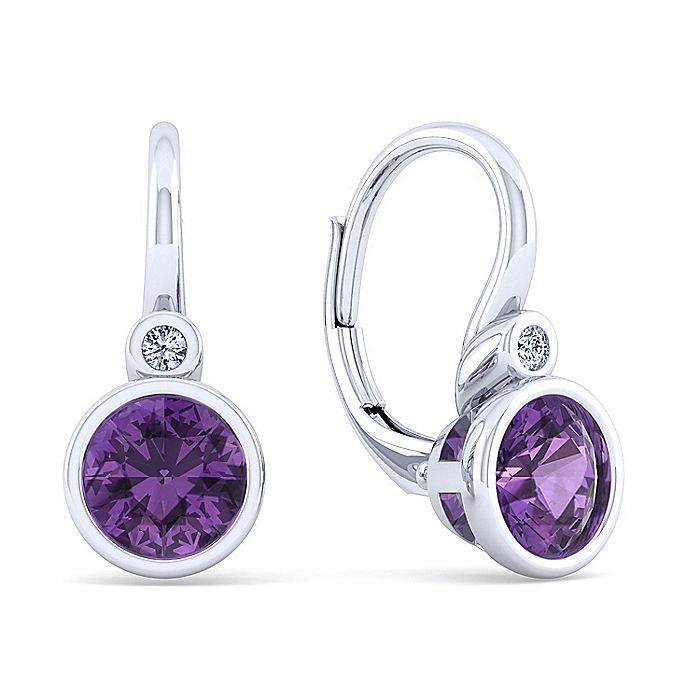 925 Sterling Silver Plated Amethyst and Diamond Leverback Earrings