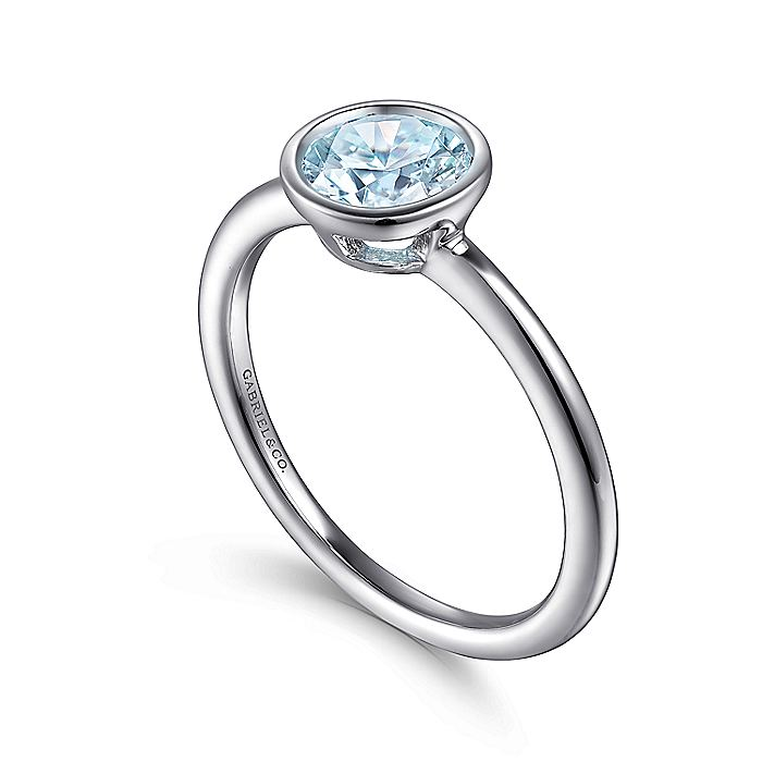 925 Sterling Silver Plated Aquamarine Ladies Ring