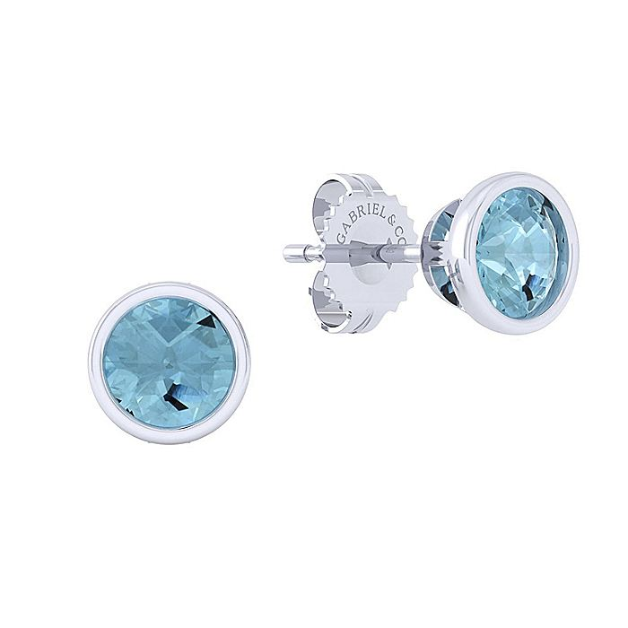 925 Sterling Silver Plated Aquamarine Stud Earrings