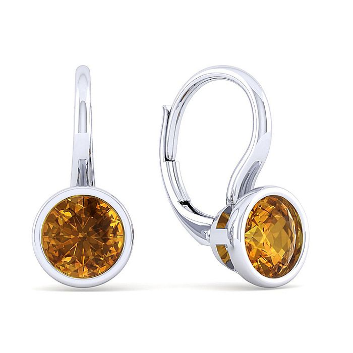 925 Sterling Silver Plated Citrine Leverback Earrings
