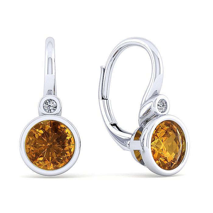 925 Sterling Silver Plated Citrine and Diamond Leverback Earrings