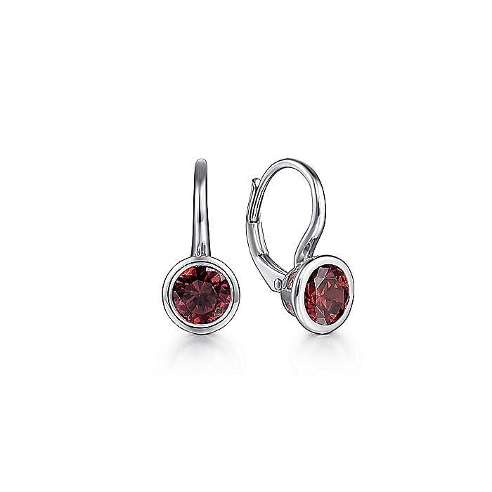 925 Sterling Silver Plated Garnet Leverback Earrings