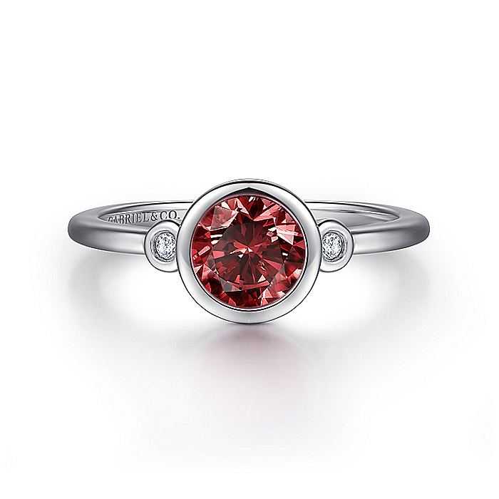 925 Sterling Silver Plated Garnet and Diamond Ladies Ring