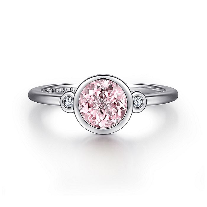925 Sterling Silver Plated Pink Created Zircon and Diamond Ladies Ring