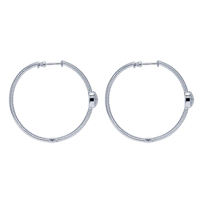 925 Sterling Silver Prong Set 40mm Round Classic Diamond Hoop Earrings