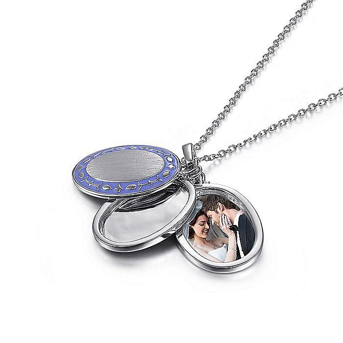 925 Sterling Silver Purple Enamel Pendant Necklace