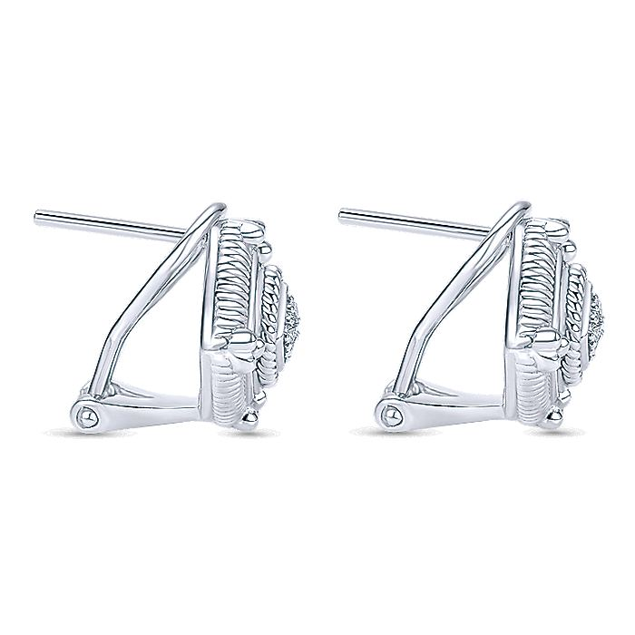 925 Sterling Silver Rhombus Stud Earrings with Diamond Accents