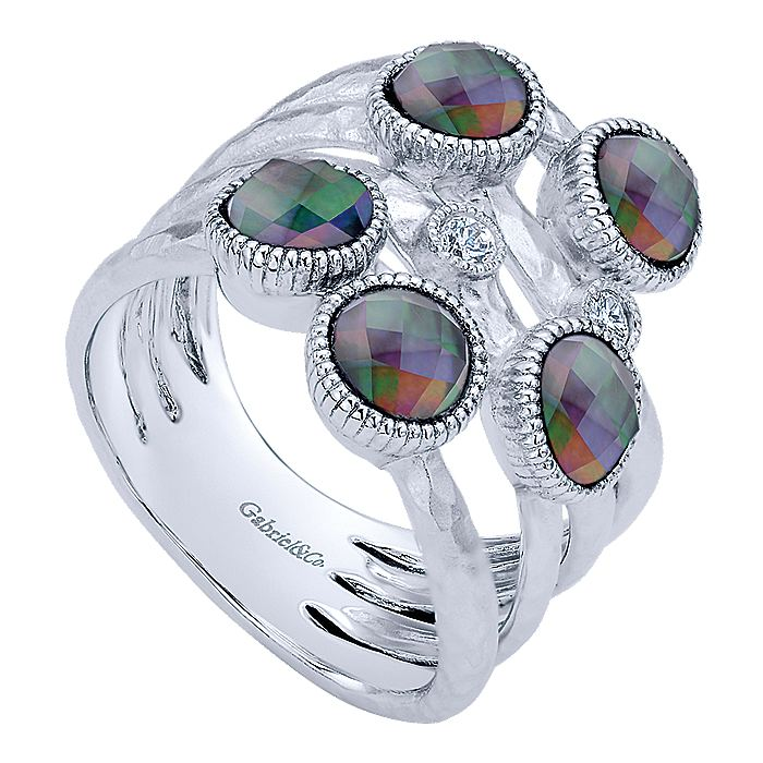 925 Sterling Silver Rock Crystal/Black MOP with White Sapphire Multi Row Ring