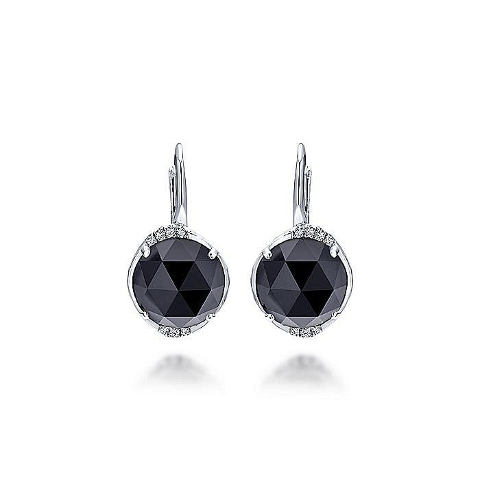 925 Sterling Silver Rock Crystal/Black Onyx Diamond Drop Earrings