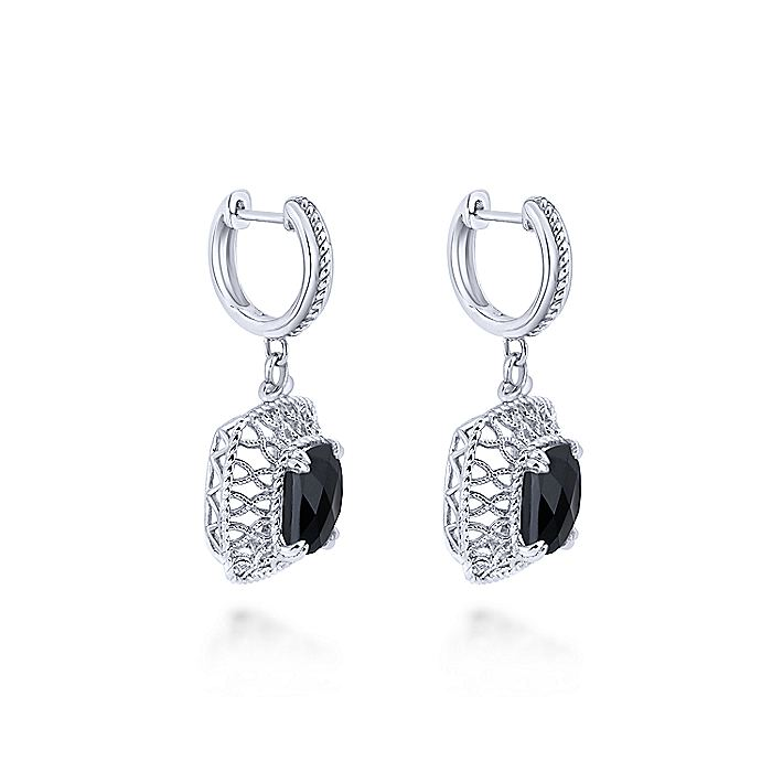 925 Sterling Silver Rock Crystal/Black Onyx Filigree Drop Earrings