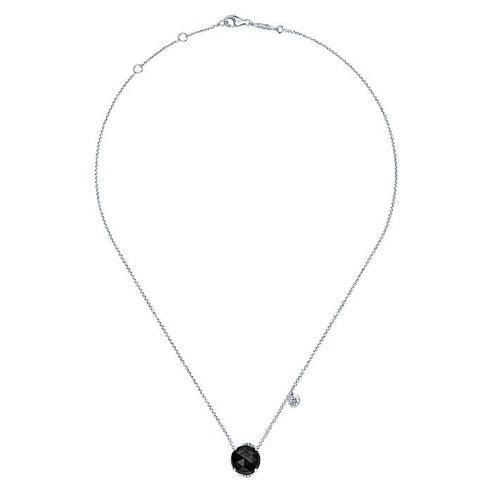 925 Sterling Silver Rock Crystal/Black Onyx and Diamond Pendant Necklace