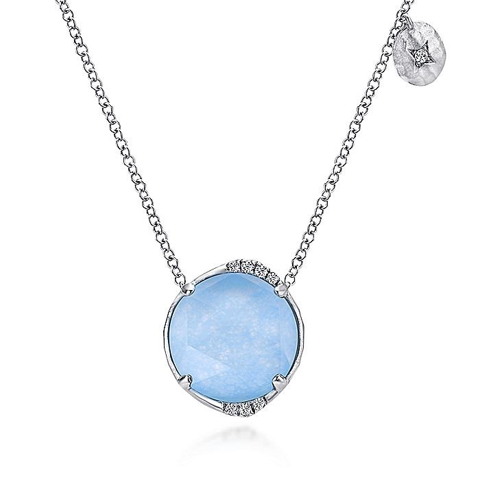 925 Sterling Silver Rock Crystal/Blue Jade and Diamond Pendant Necklace