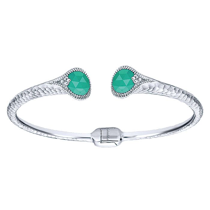 925 Sterling Silver Rock Crystal/Green Onyx Split Bangle