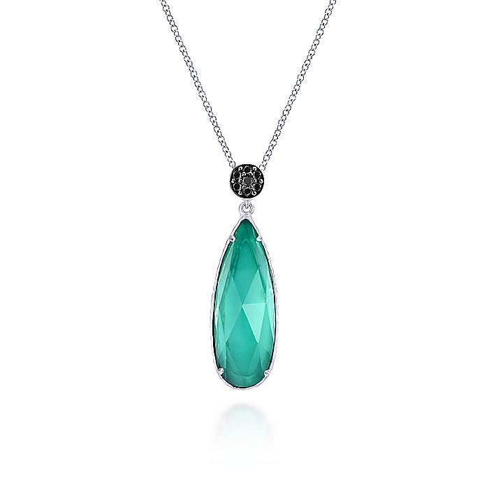 925 Sterling Silver Rock Crystal/Green Onyx Teardrop Pendant Necklace with Black Spinel