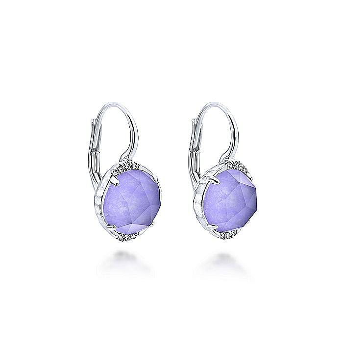 925 Sterling Silver Rock Crystal/Purple Jade Diamond Drop Earrings