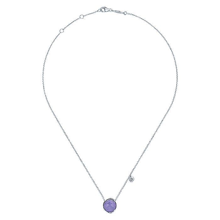 925 Sterling Silver Rock Crystal/Purple Jade and Diamond Pendant Necklace