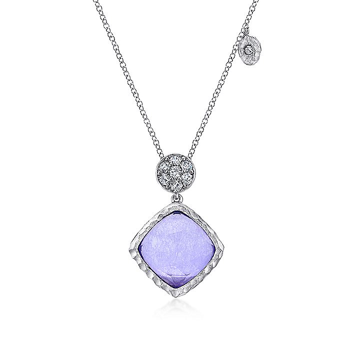 925 Sterling Silver Rock Crystal/Purple Jade and White Sapphire Pendant Necklace