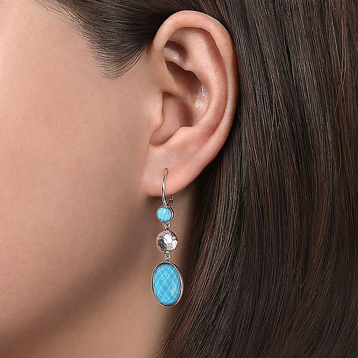 925 Sterling Silver Rock Crystal/Turquoise Drop Earrings