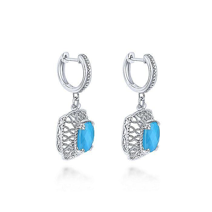 925 Sterling Silver Rock Crystal/Turquoise Filigree Drop Earrings