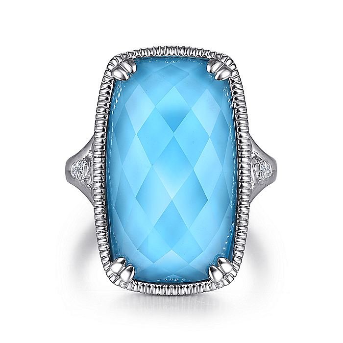 925 Sterling Silver Rock Crystal/Turquoise Long Cushion Cut Ring