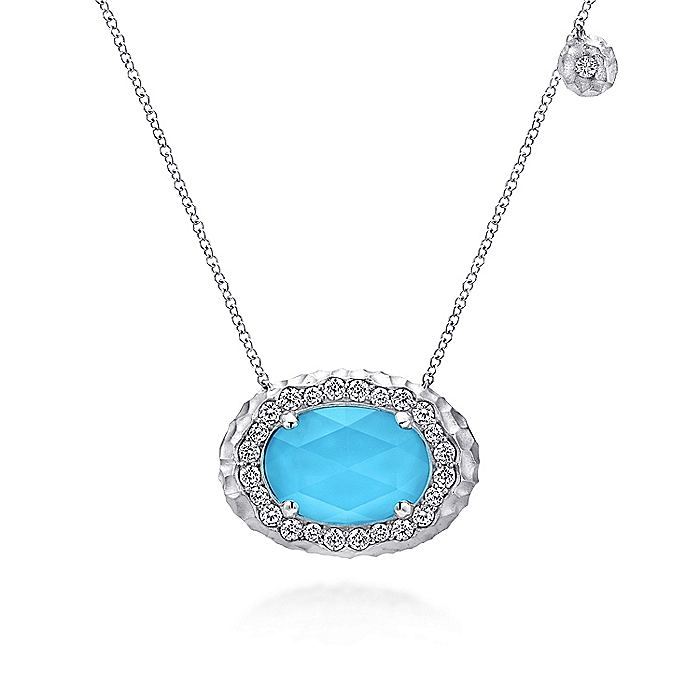925 Sterling Silver Rock Crystal/Turquoise Necklace with White Sapphire Halo
