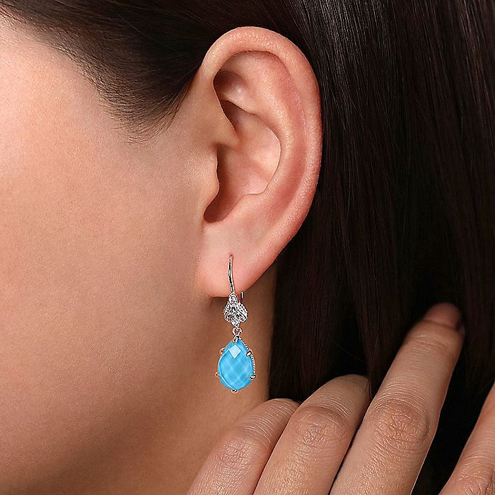 925 Sterling Silver Rock Crystal/Turquoise Teardrop Earrings with White Sapphire Tops
