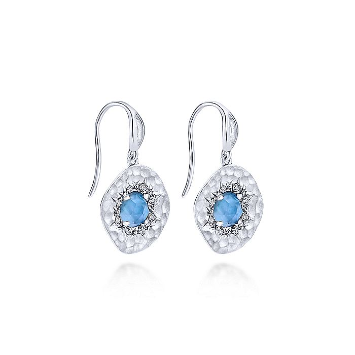 925 Sterling Silver Rock Crystal/White MOP and White Sapphire Drop Earrings