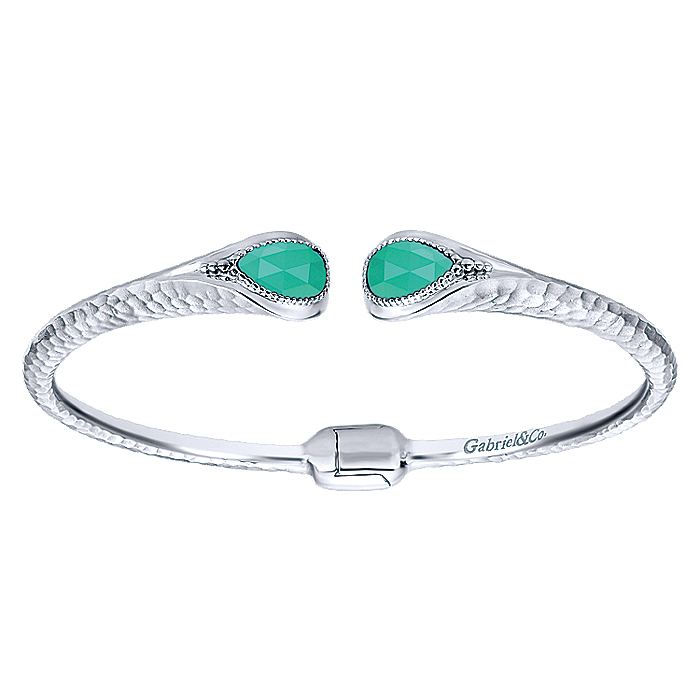 925 Sterling Silver Rock Crystal and Green Onyx Split Bangle