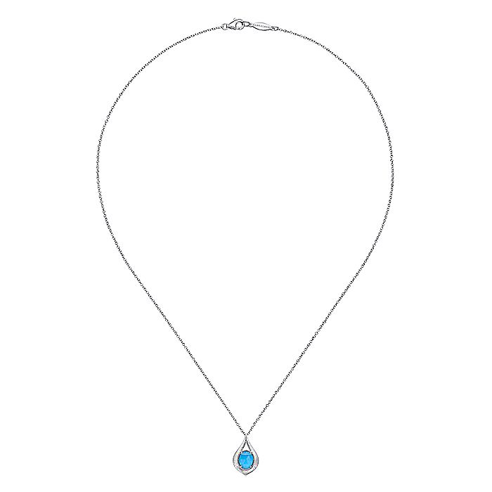 925 Sterling Silver Rock Crystal and Turquoise Pendant Necklace